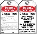 Lockout Safety Tag - Group Lockout System, Crew Tag