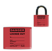 Red DANGER, LOCKED OUT LockWrap� Color-Coded Padlock Sleeve