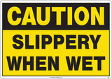 Caution Sign, Slippery When Wet (Yellow Background)