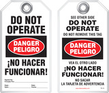 Bilingual Safety Tag - Danger, Peligro, Do Not Operate, No Hacer Funcionar! (English/Spanish)