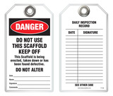 Maintenance Safety Tag - Danger, Do Not Use This Scaffold, Keep Off