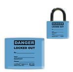 Lockwrap® Color-Coded Padlock Sleeve, Blue, Danger, Locked Out