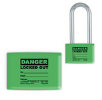 Lockwrap® Color-Coded Padlock Sleeve, Green, Small, Danger, Locked Out