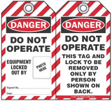 Danger Self-Laminating Peel and Stick Tag, Do Not Operate, Equipment Locked Out