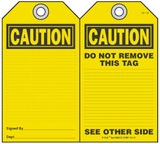 Caution Self-Laminating Peel and Stick Safety Tag