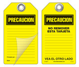 Precaucion Self-Laminating Peel and Stick Safety Tag (Spanish)