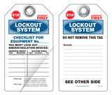 Lockout System, Checklist For Equipment Self-Laminating Peel and Stick Safety Tag