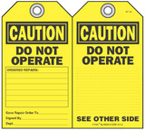 Caution, Do Not Operate Self-Laminating Peel and Stick Safety Tag