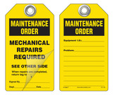 Maintenance Order, Mechanical Repairs Required Self-Laminating Peel and Stick Safety Tag