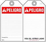 Peligro Self-Laminating Peel and Stick Safety Tag (Spanish, Ansi)