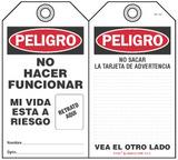 Peligro Bilingual Self-Laminating Peel and Stick Tag, No Hacer Funcionar, Mi Vida Esta A Riesgo   (Spanish)