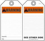 Warning Self-Laminating Peel and Stick Safety Tag (Ansi)