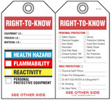 Right-To-Know (Health, Flammability, Reactivity) Self-Laminating Peel and Stick Safety Tag