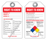 Right-To-Know (Personal Protection Checklist) Self-Laminating Peel and Stick Safety Tag