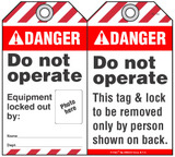 Danger Self-Laminating Peel and Stick Tag, Do Not Operate, Equipment Locked Out By   (Ansi)