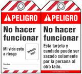 Peligro Bilingual Self-Laminating Peel and Stick Tag, No Hacer Funcionar   (Spanish)