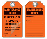 Maintenance Order, Electrical Repairs Required Self-Laminating Peel and Stick Safety Tag