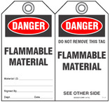 Fire Prevention Safety Tag - Danger, Flammable Material