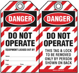 Lockout Safety Tag - Danger, Do Not Operate, Equipment Locked Out By