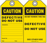 Maintenance Safety Tag - Caution, Defective, Do Not Use