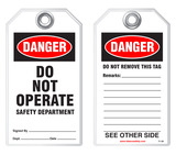 Lockout Safety Tag - Danger, Do Not Operate, Safety Department