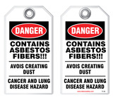 Safety Tag - Danger, Contains Asbestos Fibers
