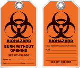 Safety Tag - Biohazard, Burn Without Opening