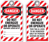 Lockout Safety Tag - Danger, Do Not Energize Or Operate, Equipment Locked Out By