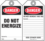 Safety Tag - Danger, Do Not Energize