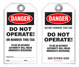 Lockout Safety Tag - Danger, Do Not Operate Or Remove This Tag