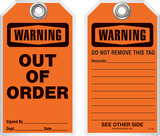 Maintenance Safety Tag - Warning, Out Of Order