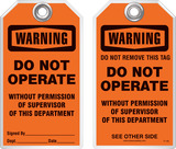 Warning Tag - Warning, Do Not Operate Without Permission Of Supervisor Of This Department