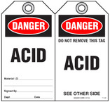 Safety Tag - Danger, Acid