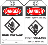 Safety Tag - Danger, High Voltage (With Symbol)