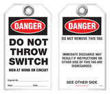 Lockout Safety Tag - Danger, Do Not Throw Switch, Men At Work On Circuit