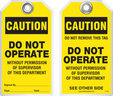Warning Tag - Caution, Do Not Operate Without Permission Of Supervisor Of This Department