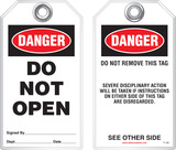Safety Tag - Danger, Do Not Open