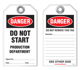 Lockout Safety Tag - Danger, Do Not Start, Production Department