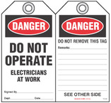 Lockout Safety Tag - Danger, Do Not Operate, Electricians At Work