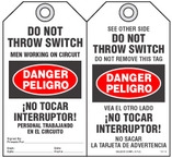 Bilingual Safety Tag - Danger, Peligro, Do Not Throw Switch, Men Working On Circuit, No Tocar Interruptor! (English/Spanish)