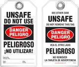 Bilingual Safety Tag - Danger, Peligro, Unsafe, Do Not Use, Peligroso, No Utilizar! (English/Spanish)