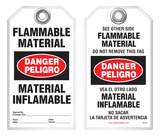 Bilingual Safety Tag - Danger, Peligro, Flammable Material, Material Inflamable (English/Spanish)