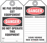 Bilingual Safety Tag - Danger, Ne Pas Operer Cet Equipement, Do Not Operate This Equipment (English/French)