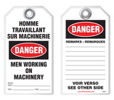 Bilingual Safety Tag - Danger, Homme Travaillant Sur Machinerie, Men Working On Machinery (English/French)