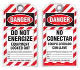 Bilingual Safety Tag - Danger, Do Not Energize, Equipment Locked Out, No Conectar, Equipo Cerrado Con Llave