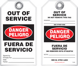 Lockout Safety Tag - Bilingual Safety Tag, Danger,  Out of Service, Peligro, Fuera De Servicio