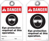 Warning Tag - Danger, Eye Protection Required At This Operation (Ansi)