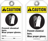 Warning Tag - Caution, Prevent Chemical Burn, Wear Proper Gloves (Ansi)