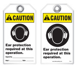 Warning Tag - Caution, Ear Protection Required At This Operation  (Ansi)