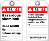 Safety Tag - Danger, Hazardous Chemical (Ansi - Disciplinary)